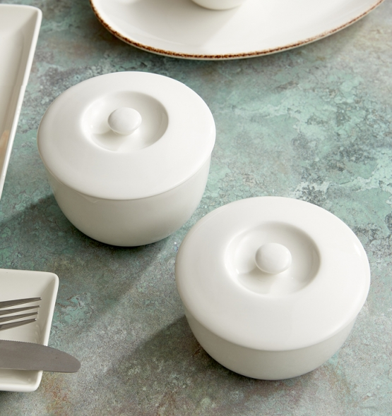 White lidded bowls